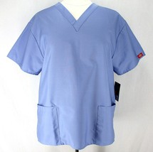 Dickies Every Day Scrub Top Womens XL Blue Short Sleeve V Neck Missy Fit EDS - $15.99
