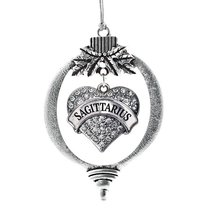 Inspired Silver Sagittarius Zodiac Pave Heart Holiday Christmas Tree Ornament Wi - $14.69