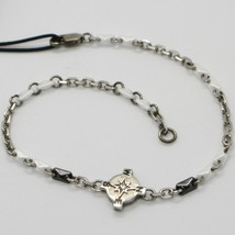 925 STERLING SILVER WIND ROSE COMPASS BRACELET WHITE CERAMIC, ZANCAN, ITALY MADE image 1
