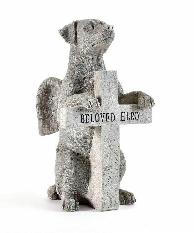 "12.6"" Dog Memorial Design Statue w Angel Wings & Paws on Cross says Beloved Hero"