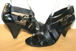❤️Michael Kors Patent Stretch-Straps Open-Toe Heels 8.5 M GREAT! L@@K!r - $34.24