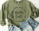 NEW Womens Hello Fall Crewneck Sweatshirt Tops Autumn Seasonal Sweater S-2XLarge