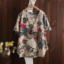 Plus Size 2018 ZANZEA Women Vintage Floral Printed O Neck Short Sleeve Blouse Su - $32.31