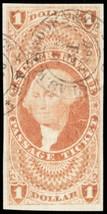 R74a, Superb Gem Passage Ticket Revenue Stamp Cat $350.00 - Stuart Katz - $275.00
