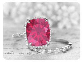 9mm Cushion Cut Ruby 14k White Gold Over Art Deco Engagement Bridal Ring Set - $119.99