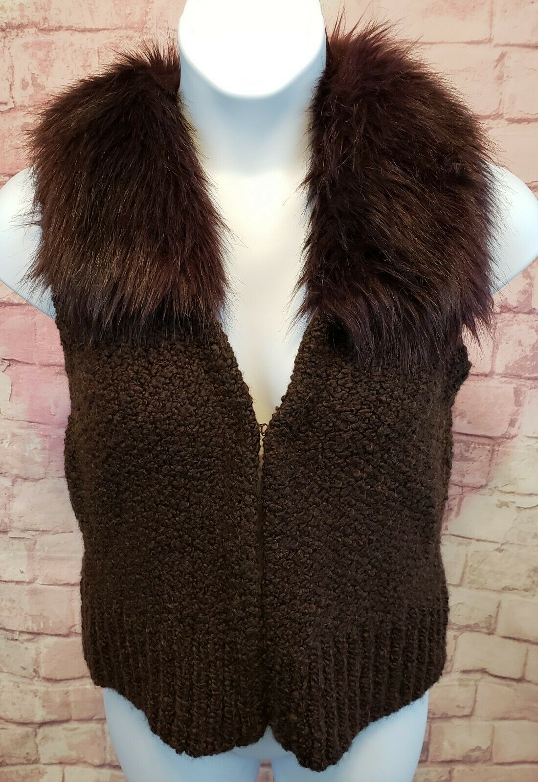 Ann Taylor Loft Womens Sweater Vest Alpaca/Mohair w/ Faux Fur Collar Brown Sz M