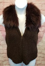 Ann Taylor Loft Womens Sweater Vest Alpaca/Mohair w/ Faux Fur Collar Brown Sz M image 1