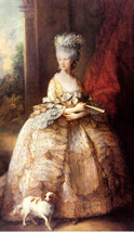 Portrait Of Queen Charlotte Painting By Thomas Gainsborough Canvas Repro Large - $58.50