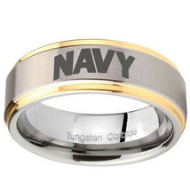 NAVY 8mm Gold Step Edges Tungsten Carbide Engraved Ring - $39.99