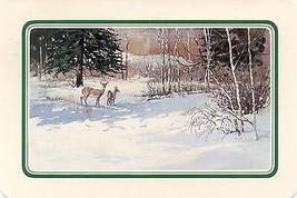 "1983 Hallmark PX-121-7 ""Christmas Deer Scenic"" - $0.98"