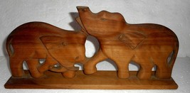 Vintage Wooden Elephant Hand Crafted Trunk Of Elephant Broken S2142 - $9.17