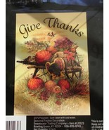 Spook City Fall Garden Flag Give Thanks Wheelbarrow Pumpkins Turkey Than... - $5.95