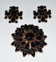 VTG Gold Tone Large Black Glass Rhinestone Flower Brooch Pin Earrings Set - $74.25