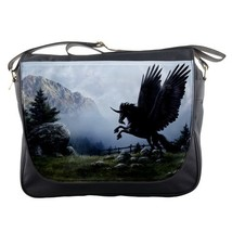 Messenger Bag Dark Black Unicorn Animation In Fog Beautiful Horse Animal Editio - $30.00