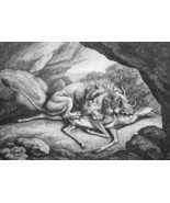 AESOP FABLES Stag in Lion's Den - 1811 Original Etching Print - $21.60