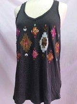 Express Dark Gray Racer Back Tank Top with Sequin Front, Womens Size S - $12.34