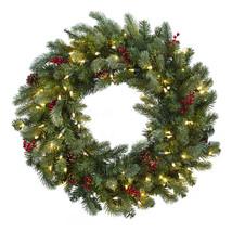 "30"" Lighted Pine Wreath w/Berries & Pine Cones - $70.75"
