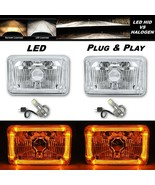4X6 Amber Halo Angel Eye H4 Crystal Clear Headlight Headlamp w/ 6k LED B... - $124.95