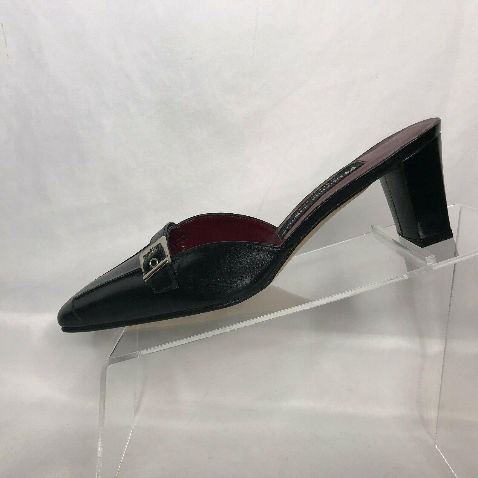 2e16cfa8da Etienne Aigner Black Leather Mules Slingbacks Heels Size 7M Spain Jade Shoes  - $29.69