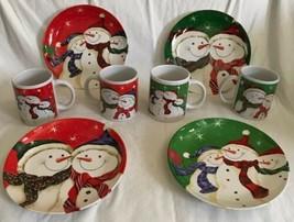 "Holiday Snowman Plates & Mugs Set NIB Red Green Salad Plate 8.25"" Cup 3.... - $64.34"