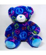 Build A Bear PEACE Bear with Dark Blue Body and Peace Symbols BABW - $12.00