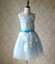 Girl Light Blue Flower Lace Dress High Waist Flower Girl Party Dress Birthday  image 1