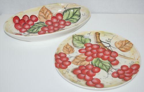 Ganz Brand Bella Casa Matching Serving Plate Bowl Set Red Grapes Theme Glazed