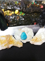 Natural Healing Druzy Quartz Necklace Aqua,  Gold tone Women or Men  - $11.87