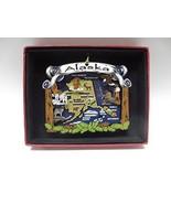 Alaska State Brass Ornament Travel Vacation Souvenir Large Color - $18.95