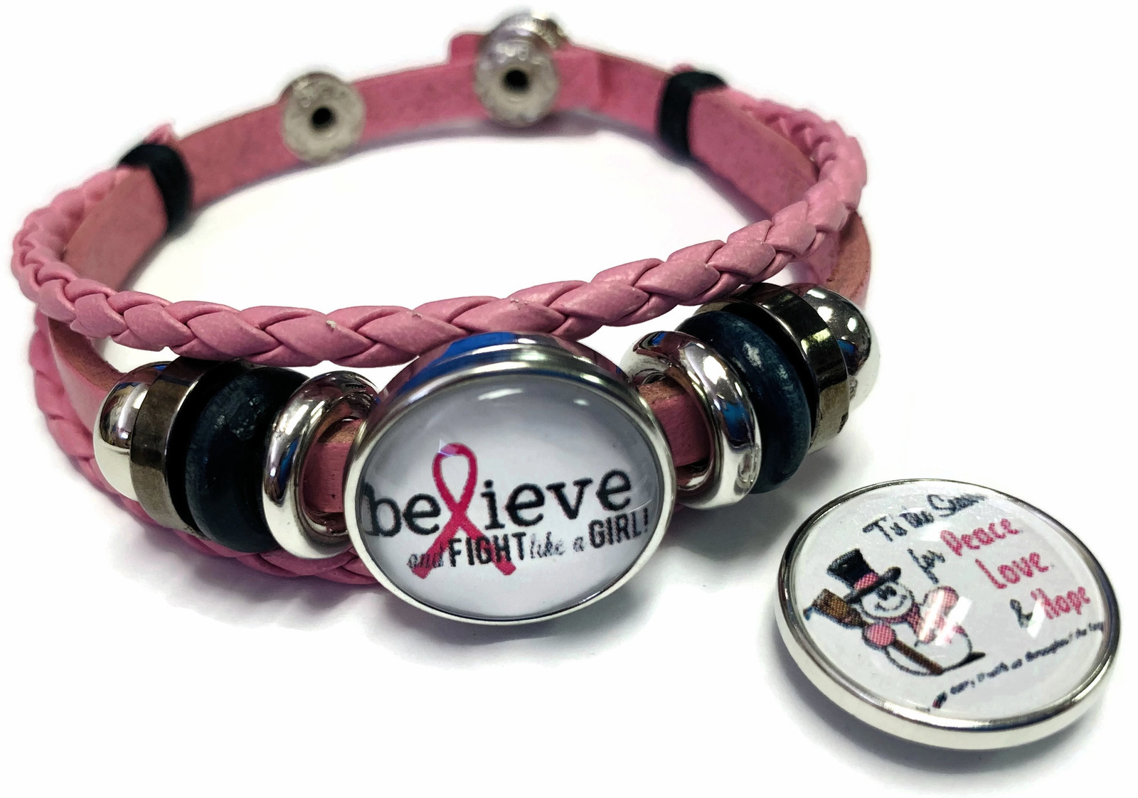 Tis The Season Breast Cancer Snaps Pink Leather Bracelet W/2 Snap Jewelry Charms image 2