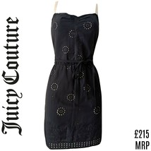Juicy Couture Dress Black Mini Eyelet Strappy Belt Tie Embroidered Size ... - $65.71