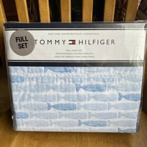 TOMMY HILFIGER Blue Whales FULL SHEET SET Easy Care Nautical Beach NEW - $51.48