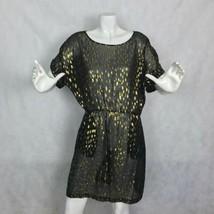 DKNY Donna Karan New York Dress Silk Sheer Black Gold Formal Party Size M - $49.99