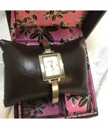 FOSSIL Watch Vintage F2 Stainless Steel Bangle Bracelet Square Face Jewelry Box - $47.82