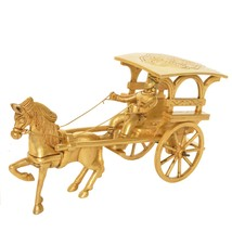 Vintage Brass Carriage Horse Cart -Showpiece/Decorative Gift with Wheel ... - $41.99