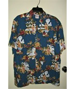 GO BAREFOOT HAWAIIAN SHIRT  Blue HULA GIRLS SIZE LARGE NEW WITH TAGS! - $19.79