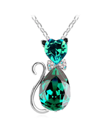 Cute Cat Pendant Necklace For Women Heart Crystal Jewelry (Silver Green) - $23.00