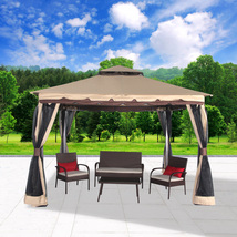 "Garden Gazebo 130"" x 130"" Patio Backyard Double Roof Vented Canopy Mosqu... - $249.99"
