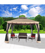 """Garden Gazebo 130"""" x 130"""" Patio Backyard Double Roof Vented Canopy Mosqu... - $249.99"""