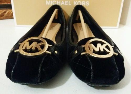 New MICHAEL KORS Fulton Quilted-Velvet Moccasin 8.5M US Women Shoes Black