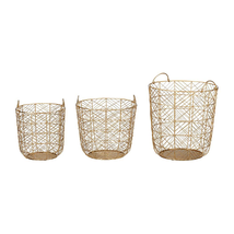 Home Decorators Collection Round Gold Metal Wire Decorative Basket (Set ... - $178.65