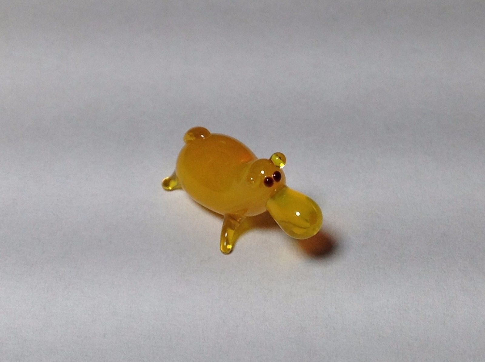 Miniature Glass yellow  hippo Handmade Blown Glass Made USA