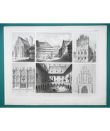 ARCHITECTURE Poland Krakow Prenzlau Halberstadt - 1870 Engraving Print - $16.20