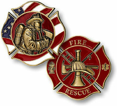 FIRE FIREMAN RESCUE MASK MALTESE  CHALLENGE COIN - $11.72