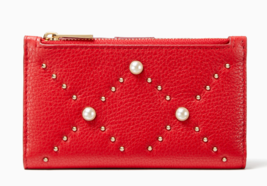 Kate Spade hayes street pearl Mikey Card Case Coin Purse Slim Wallet ~NWT~ Red - $74.25