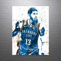 Paul George Oklahoma City Thunder, Sports Art Print, Basketball - Poster Wall Ar - $19.95+
