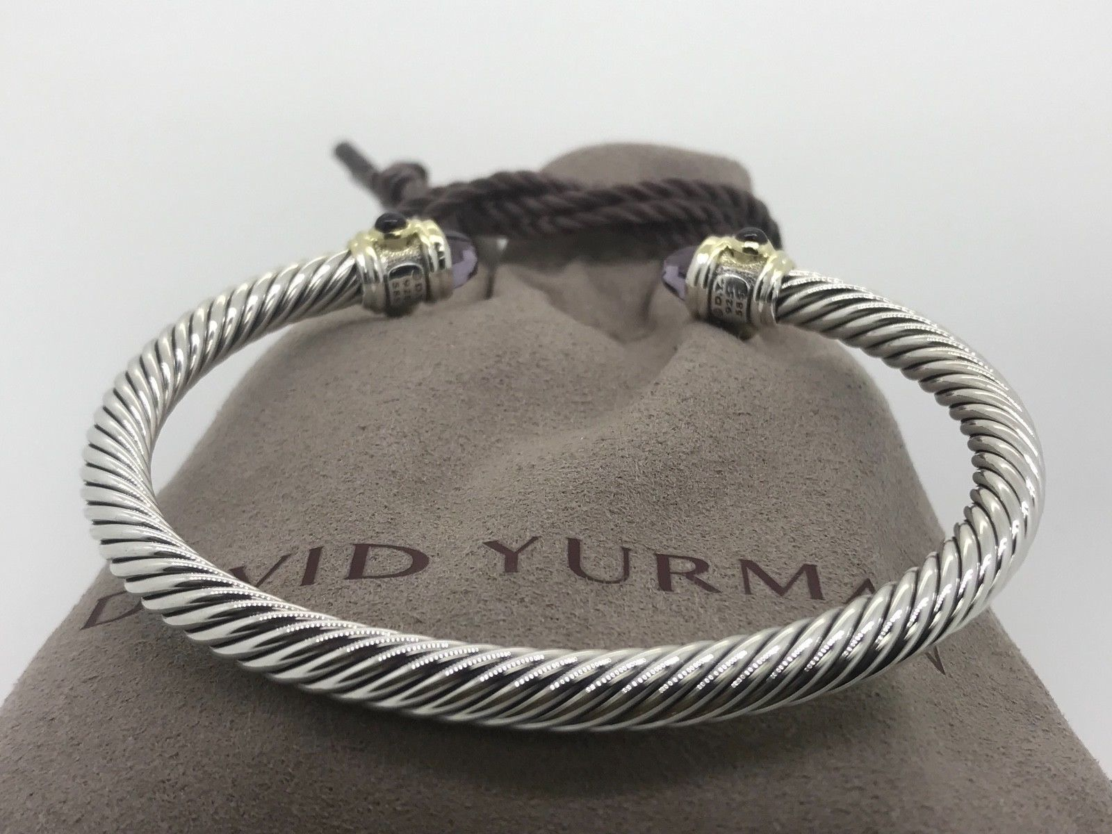 $1,200 DAVID YURMAN Renaissance 5mm Cable Classic Amethyst Bracelet 14k