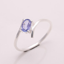 NATURAL TANZANITE 6*4 MM OVAL 925 STERLING SILVER 7 US RING - £10.77 GBP