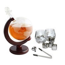 Tabletop Whiskey Decanter Set 1000ml Globe Glasses and Stainless Steel S... - $85.88 CAD