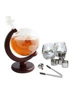 Tabletop Whiskey Decanter Set 1000ml Globe Glasses and Stainless Steel S... - £50.45 GBP